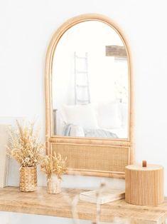 Spiegel aus Rattangeflecht, 41x69cm IZIA | Maisons du Monde Rattan Rocking Chair, Bamboo Box, Arch Mirror, Unique Mirrors, Home Trends, Inspired Homes, Room Inspiration, Wood Crafts, Oversized Mirror