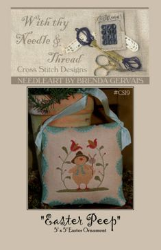 Easter Peep Ornament : With Thy Needle Country Stitches counted cross stitch patterns Spring April March chick prim hand embroidery by thecottageneedle