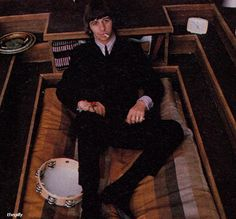 Ringo on the set of the communal Beatle pad in Help!, 1965