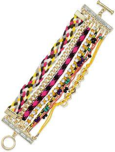Bar III Gold-Tone Multicolor Woven Multi-Row Toggle Bracelet on ShopStyle