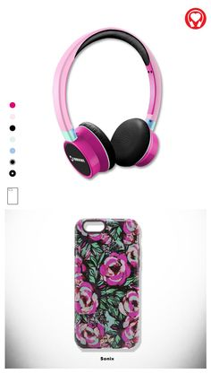 Gift for her: #Bright customized headphones inspired by #FUCHSIA #BLOOM for men, made by #Sonix