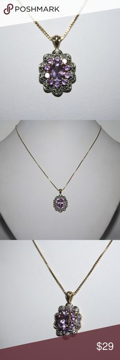 "Sterling Silver GOLD Amethyst and Diamond Necklace This is a stunning necklace and pendant. necklace is 18"" inches long stamped .925 sterling silver with a beautiful Vermiel color. Pendant has one diamond at the top and many stunning amethyst stones. This is one beautiful necklace.  Buy from me with confidence! I have sold over 900 items with a 5 star rating! See multiple items you can't live without? Add them to a bundle to receive a private offer. I ship quickly! Sterling Jewelry Necklaces"