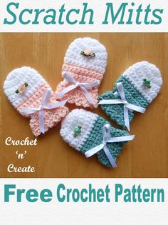 Baby scratch mitts, a free baby crochet pattern, part of my CrissCross collection, get all 4 patterns free on Baby Scratch Mitts Free Crochet Pattern - Crochet 'n' Create Angie Sizemore an Crochet Baby Mittens, Crochet Mitts, Newborn Crochet Patterns, Baby Girl Patterns, Baby Clothes Patterns, Crochet Baby Clothes, Crochet Gloves, Baby Knitting, Free Crochet