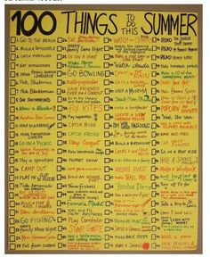 100 Things to do this summer.