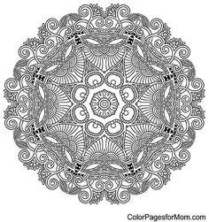 mandala: Circle lace ornament, round ornamental geometric doily pattern, black and white collection Illustration