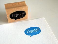 Stempel - Danke! kl.sprechblase - 20x30mm von SiebenMorgen auf DaWanda.com