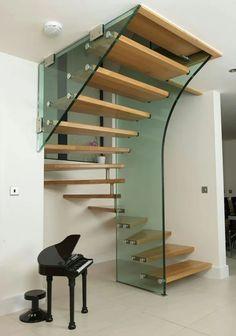 Фотография Spiral Staircase, Staircase Design, Staircase Ideas, Stairways, Design Interior, Interior Architecture, Glass Stairs, Glass Railing, Attic Stairs