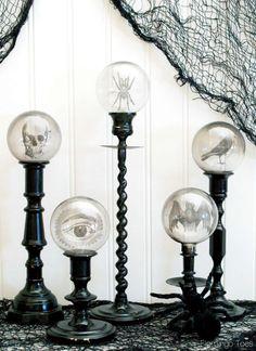 Spooky Crystal Ball Halloween Candlesticks