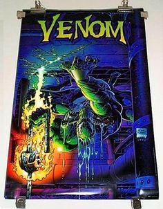 Rare vintage original 1993 Marvel Comics 34 x 22 Venom cover art poster 153: Amazing Spider-man movie super-villain.   SEE 1000's MORE RARE VINTAGE MARVEL AND DC COMICS SUPERHERO POSTERS AND COMIC BOOK ART PAGES FOR SALE AT SUPERVATOR.COM