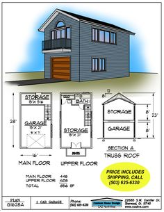 2 Story Single Garage Plan House Pinterest Garage Garage