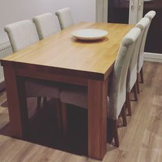 """Contemporary Chunky 5ft x 2ft 6"""" Natural Solid Oak Dining Table from Oak Furniture Land"""