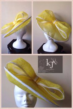 Large upturned brim with oversized bow headpiece #kjmillinery