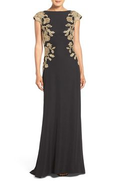 23f9970ea7 Free shipping and returns on Tadashi Shoji Embroidered Woven Gown at  Nordstrom.com. Gold