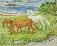 Horses By the Sea 1968 by Waldo Peirce