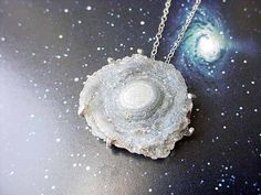 Galaxy Necklace Chalcedony Druzy Rosette Pendant by MySelvagedLife (Beautiful!!)