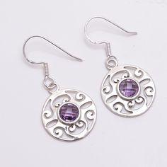 CHRISTMAS PRESENT Natural Amethyst Handmade 925 Sterling Silver Earrings Jewelry #Handmade #DropDangle