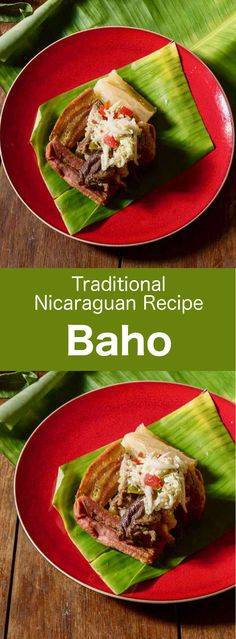 Baho (or vaho) is a traditional Nicaraguan recipe that is prepared with beef, plantains and cassava, and that is cooked in banana leaves. Latin American Food, Latin Food, Nicaraguan Food, Banane Plantain, Sushi Lunch, Avocado Salad Recipes, Comida Latina, Cooking Recipes, Healthy Recipes