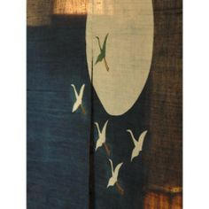 """Japanese Noren, WE0530, Linen door way curtain by EASTERN CLASSICS. $60.00. linen (BLUE). dry clean only. flying cranes. 36""""W x 60""""L. Japanese noren. Eastern Classics www.tansushop.com 510.526.1241"""