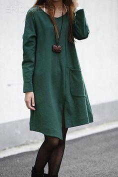 reine Farbe asymmetrisch geteilte Tasche casual dress Casual Kleider
