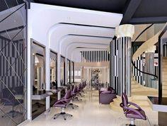 violet, argent, noir et blanc ; combinaison pour le meilleur intérieur de salon de coiffure