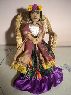 Frida Kahlo -- commissioned art doll.  SOLD