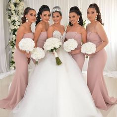 Strapless Bridesmaid Dress Long, Dusty Pink Bridesmaid Dresses, Bridesmaids, Dama Dresses, Simple Elegant Wedding, Lace Evening Dresses, Dress Silhouette, Wedding Party Dresses, Size Chart