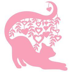 SVG digital die cut file Stretching Cat in heart vines
