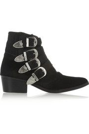 Toga PullaBuckled calf hair ankle boots