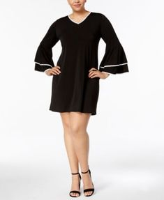 NY Collection Plus Size Bell-Sleeve A-Line Dress