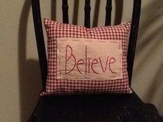 Handmade Believe Pillow by HandmadeByMeee on Etsy