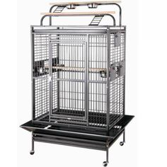 Play Top Bird Cage for Medium & Large Parrots by HQ Brass 36x28