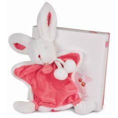 Strawberry baby pompom bunny blankie by Doudou et Compagnie