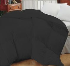 Super Oversized-High Quality-Down Alternative Comforter- Fits Pillow Top Beds - Black - Quality House