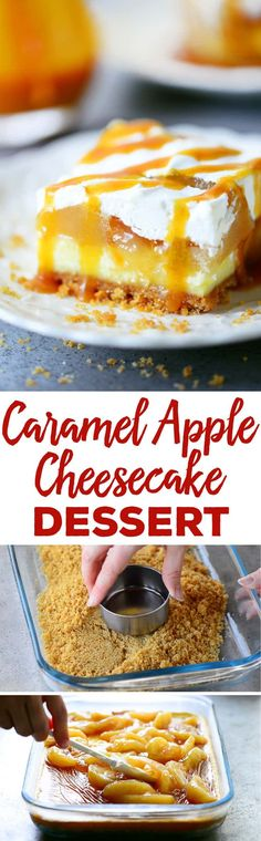 This Caramel Apple Cheesecake Dessert recipe is perfect for fall with a cheesecake layer topped with apple pie filling, caramel sauce, and whipped cream. #cheesecake #applerecipes