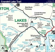 Crandell Lake Trail in Waterton Lakes National Park. Includes the Top Things To Do In Waterton Lakes National Park. Waterton Park, Waterton Lakes National Park, National Parks Map, Trail Maps, Historical Sites, Hiking, Walks, Trekking, Hill Walking
