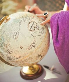 Crazy Cool Wedding Guest Book Ideas That You Will Love:   Globe Guest Book