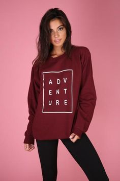 ADVENTURE graphic design on a soft, maroon, 50% cotton/50% polyestercrewneck sweatshirt. This sweatshirt was silk screened for the highest quality possible.