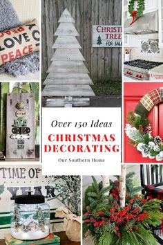 Over 150 Christmas Decorating Ideas that are budget friendly! #christmasdecorating #christmasideas #christmasdiy #christmascrafts Christmas Tree In Basket, Pallet Christmas Tree, Christmas Signs, Rustic Christmas, Christmas Projects, All Things Christmas, Merry Christmas, Christmas Holidays, Christmas Wreaths