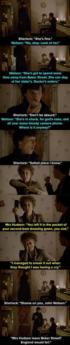 """When Mrs Hudson is held hostage in the apartment. 14 Times Mrs Hudson Was The Best Thing About """"Sherlock"""" Holmes Sherlock Bbc, Sherlock Fandom, Sherlock John, Jim Moriarty, Watson Sherlock, Supernatural Fandom, Supernatural Quotes, Baker Street, Johnlock"""