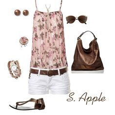 Pink and Brown Summer Outfit - Polyvore  Tank Top, White shorts, Belt, Sandals & Purse.