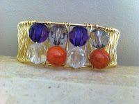 Orange and purple wire-wrapped cuff bracelet