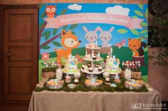 How adorable is this dessert table at a woodland birthday party! See more party planning ideas at CatchMyParty.com!