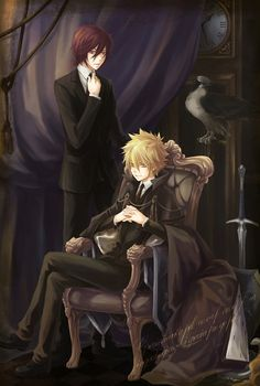 Katekyo Hitman REBORN! G. And Giotto. The background and scene is really befitting of the Mafia! Dark, cool and mysterious...