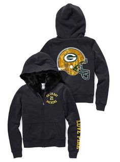 From the Victoria& Secret NFL Collection (sadly, I think the Packers stuff is all gone. Packers Gear, Packers Baby, Go Packers, Packers Football, Green Bay Packers, Packers Funny, Football Season, Zip Hoodie