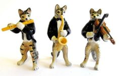 Miniature Ceramic Tabby Cat Figurine Musical 3 Piece Band | eBay