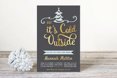 Christmas Shower Invitation in gold foil by June Arbor Designs. #babyitscold #invitations #christmasshowerinvitations #christmasinvitations #gold #goldandblack #goldfoil #mint #babyitscoldoutside #bridalshower #holiday #holdiaypartyinvite