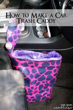 Car Trash Bag make a trash bag holder for the car in under an hour. Uses those doggie/diaper bags so brilliant