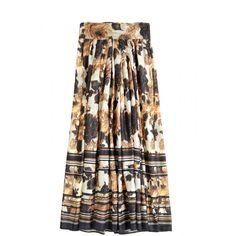 Floral print silk maxi skirt