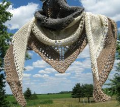 Alpaca Shawl, Hand Knit Gray, White and Tan Wool Shawlette, Triangle Wrap for Women by NorthStarAlpacas on Etsy