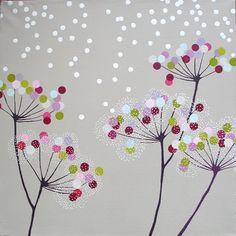 Tableau peint à l'acrylique sur toile. Format 40 x 40 cm, contour violine.